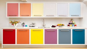 Colorful rainbow kitchen cabinets