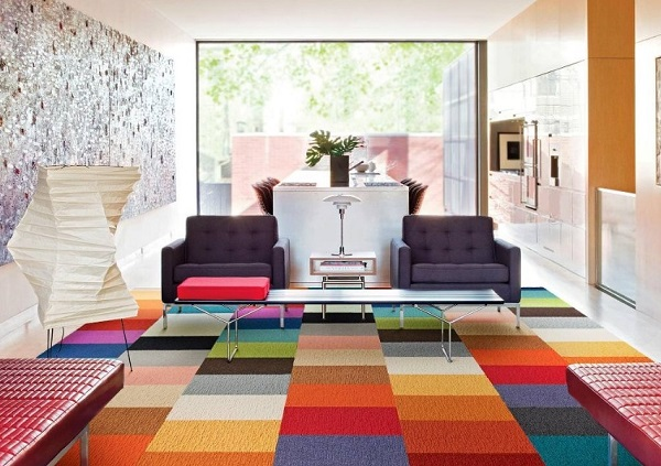 Floor tiles of living room with rainbow color
