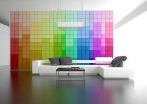 Living room decor with rainbow theme