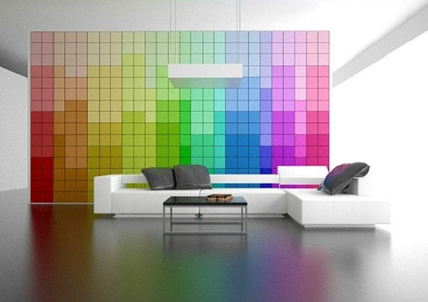 Living room decor with rainbow theme