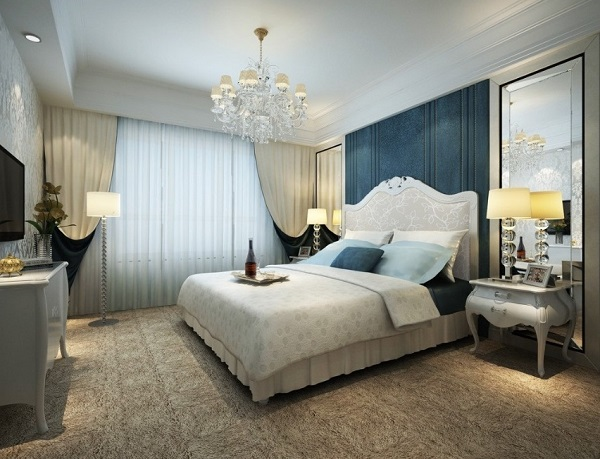 luxury bedroom design of blue color walls