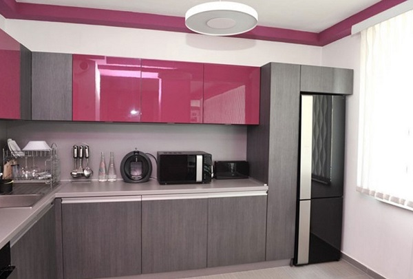 Pink and gray kitchen interior design ideas