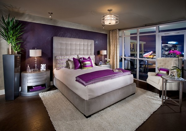 Purple bedroom decorating ideas.