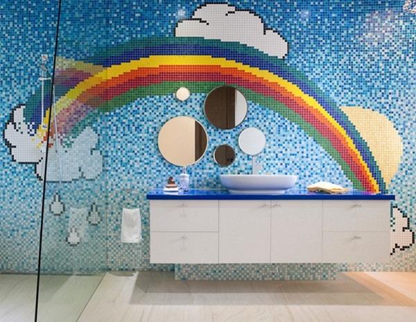 Rainbow themed bathroom decor