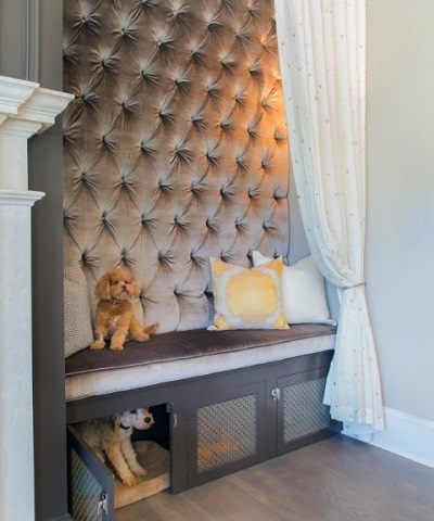 Special cabinet for dogs in living room area.