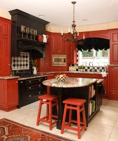 Tips to decorate black-red kitchen