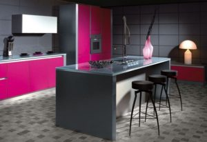 Ways to design pink and gray kitchen