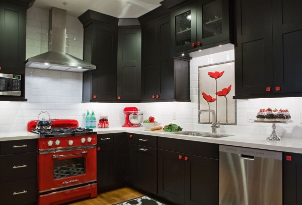 Ways to design red-black kitchen.