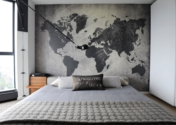 Amazing world map theme gray bedroom