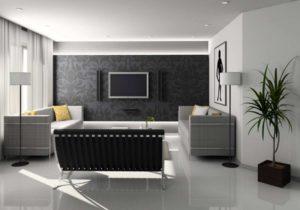 Black-white-grey living room interior decorating ideas