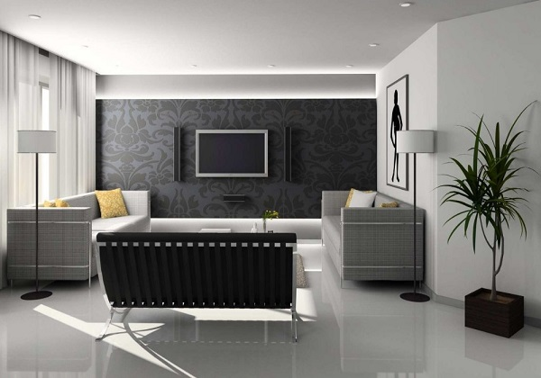 Black-white-grey living room interior decorating ideas