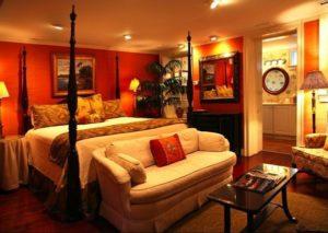 Classic orange bedroom interior design
