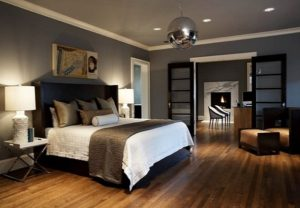 Contemporary gray bedroom decorating pictures