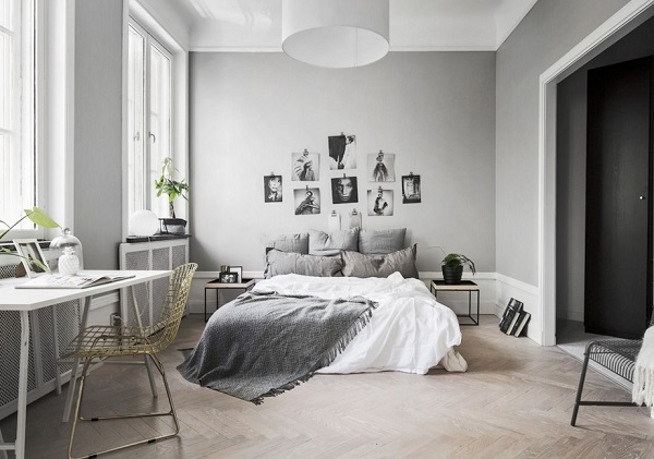 Cozy bedroom design idea in gray color