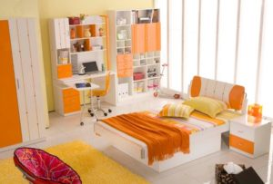 Decent orange bedroom for kids.