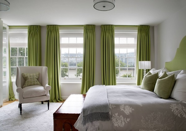 Gray-green bedroom decoration from United Kingdom