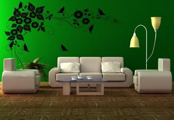 Green living room wall decor trend