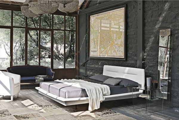 Grey bricks for modern bedroom walls