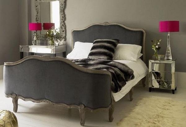 Grey-pink color bedroom design