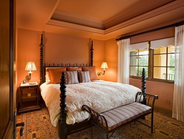 Latest orange bedroom interior photo