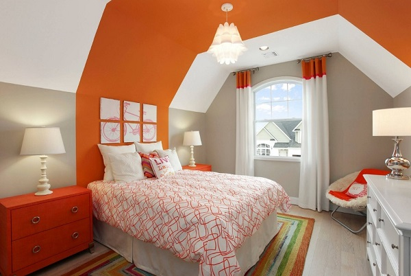 Lovely Orange Bedroom Design Ideas