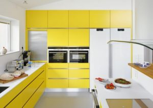 Lovely yellow and white kitchen interior