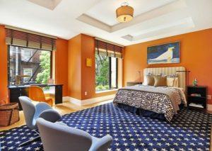 Orange-blue bedroom decor inspiration