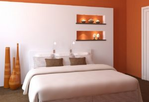 Orange-white color bedroom interior designs.
