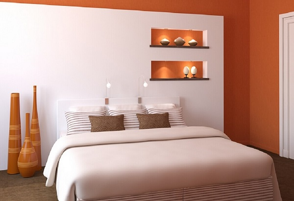 Orange and white bedroom home design for White and orange bedroom designs