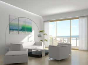 Pure white interior decor for living room
