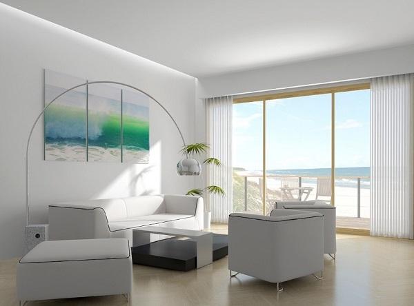 Pure white interior decor for living room