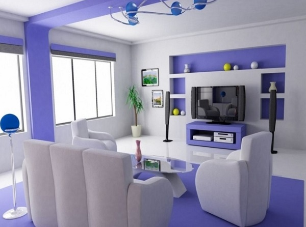 Purple-white living room design photos