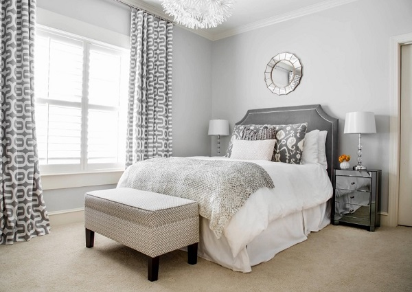 Splendid bedroom decor with grey wall design