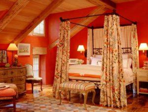 Splendid orange bedroom decoration.