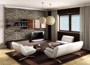 Traditional brown living room decor