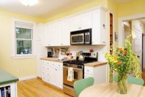 White kitchen cabinets for yellow kitchen decoration
