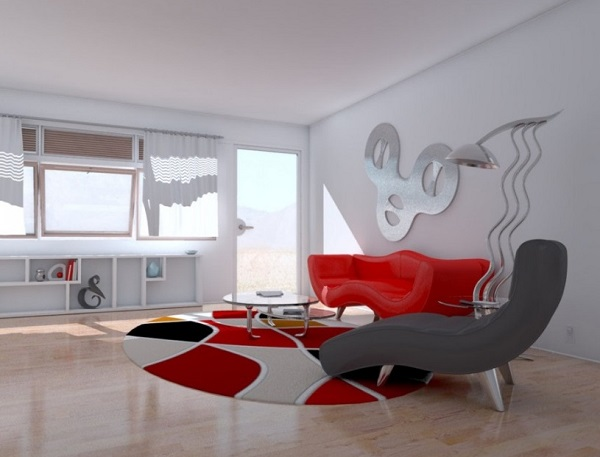 White-red colour living room decor