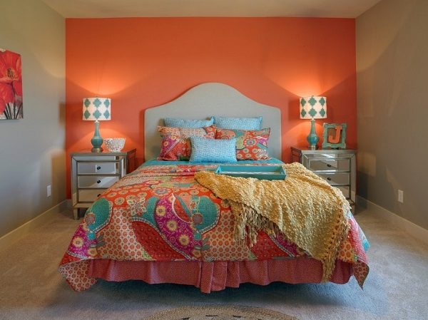 Wonderful orange colour bedroom design