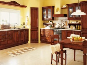 Beautiful brown-yellow kitchen decor.