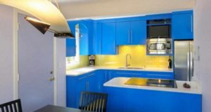 How to design a yellow-blue kitchen