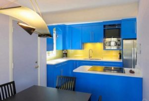 Best yellow and blue color kitchen interior design