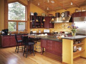 Best yellow-brown kitchen interior design.