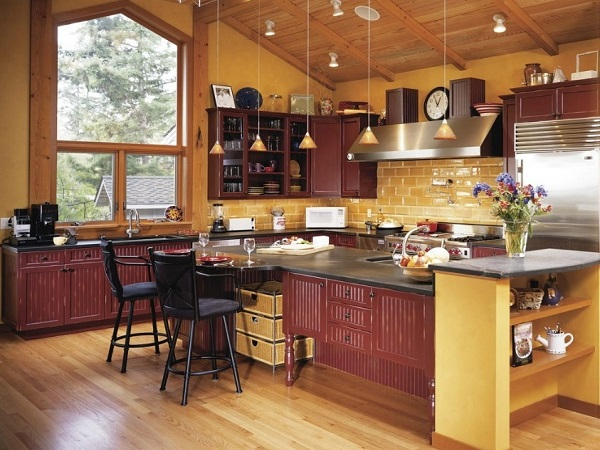 Best yellow-brown kitchen interior design.
