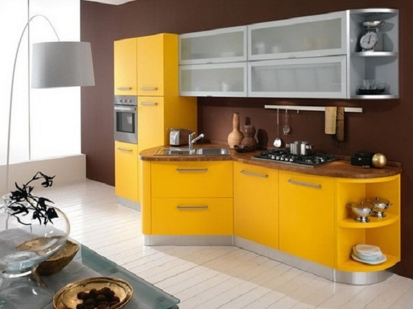 Elegant yellow and brown kitchen interior designs.