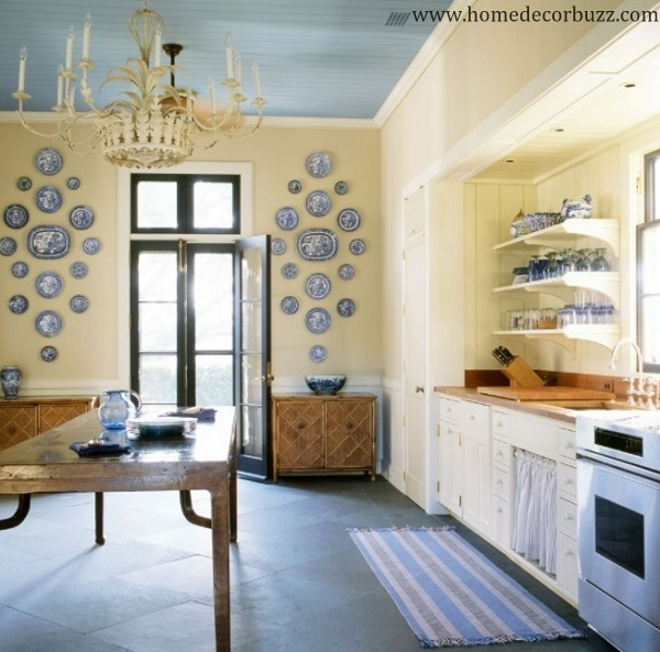 Lovely yellow-blue kitchen interior design