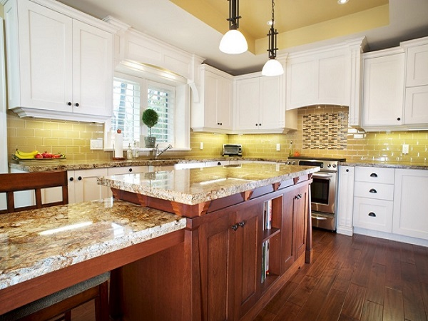 Lovely yellow-brown kitchen pictures.