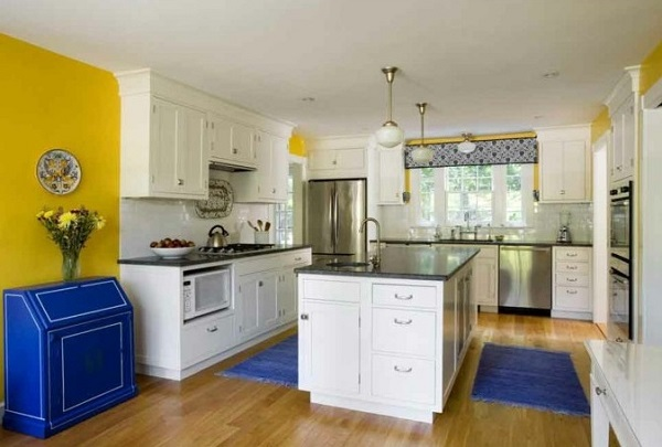 blue and yellow kitchen design decoration. Black Bedroom Furniture Sets. Home Design Ideas