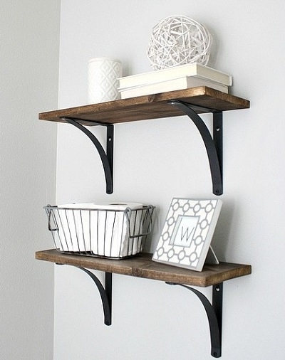Elegant wood shelves for bathroom