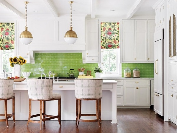 How to design green-white kitchen