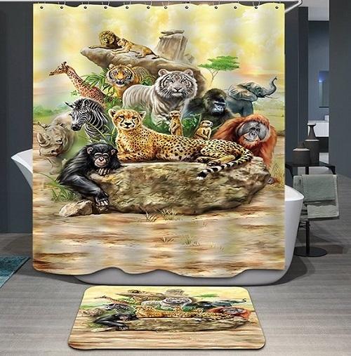 Animal design curtain for kid 39 s bathroom decor for Animal bathroom decor